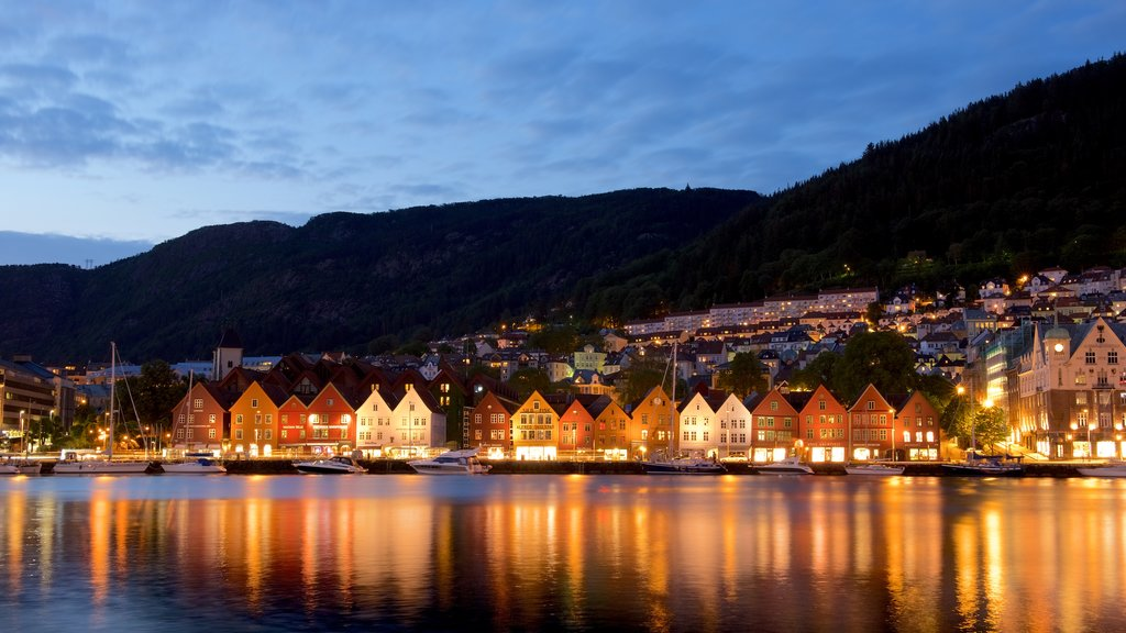 Bryggen showing night scenes and general coastal views