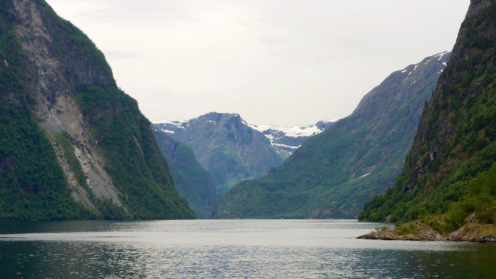 Naeroyfjord mostrando montañas y un lago o abrevadero