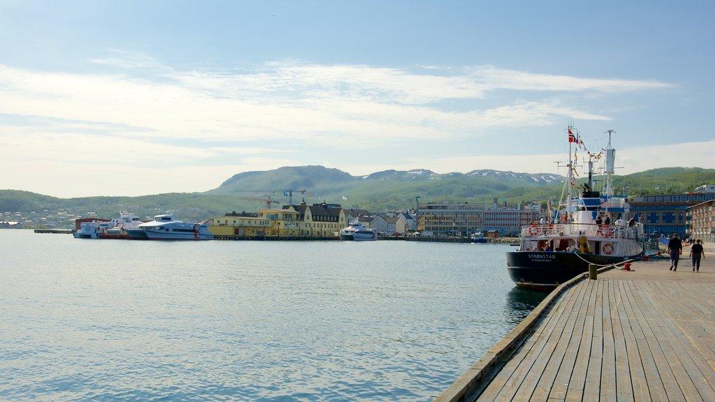 Harstad featuring boating, a coastal town and a marina