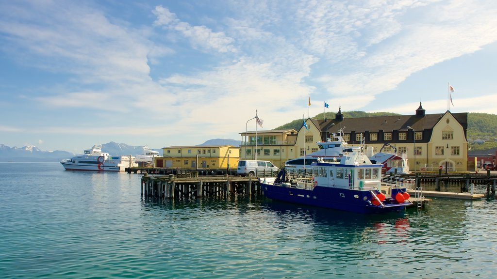 Harstad featuring a marina, a coastal town and general coastal views
