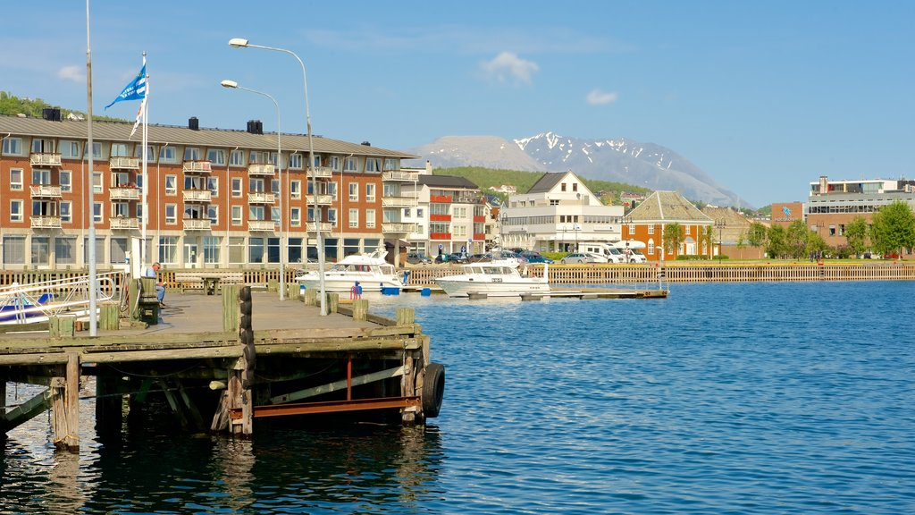 Harstad which includes boating and a coastal town
