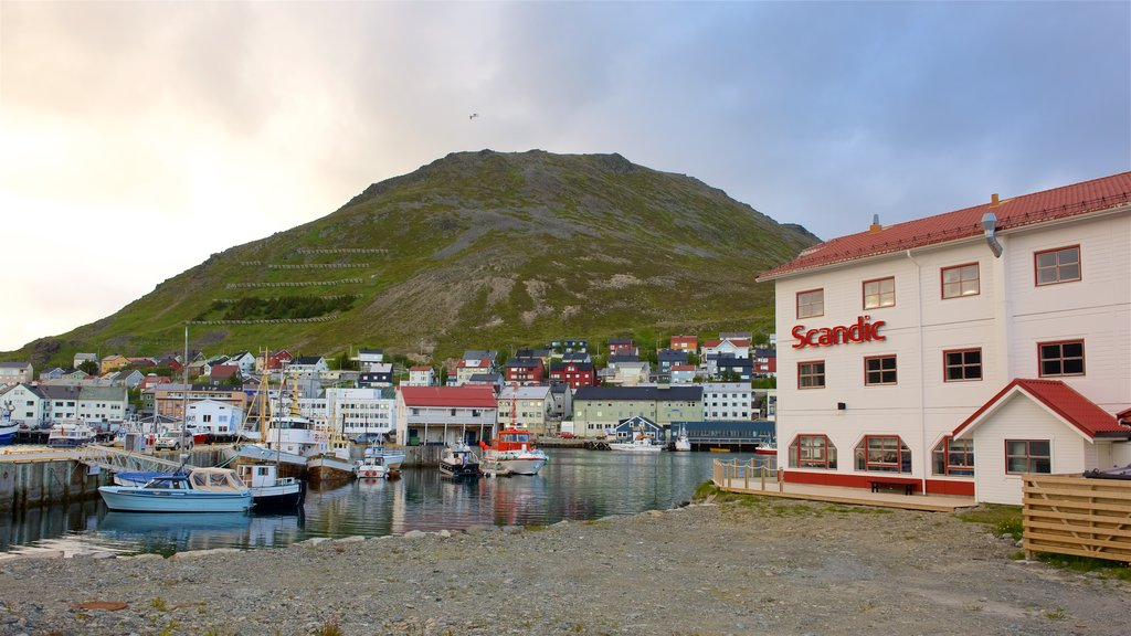 Honningsvag showing mountains and a coastal town