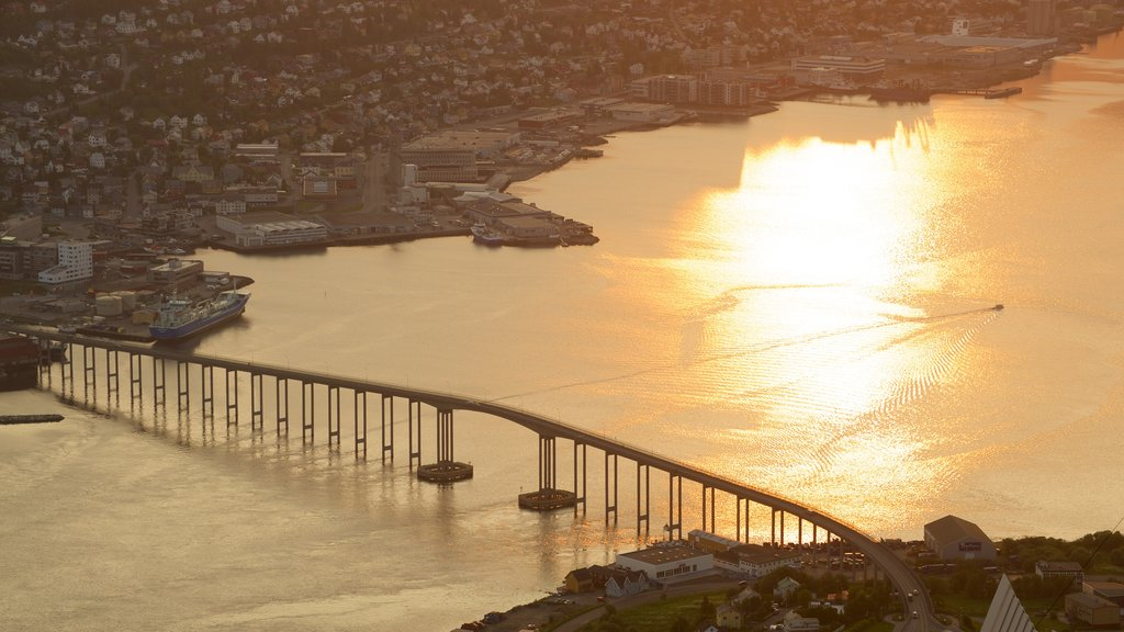Tromso showing a city, a bridge and general coastal views
