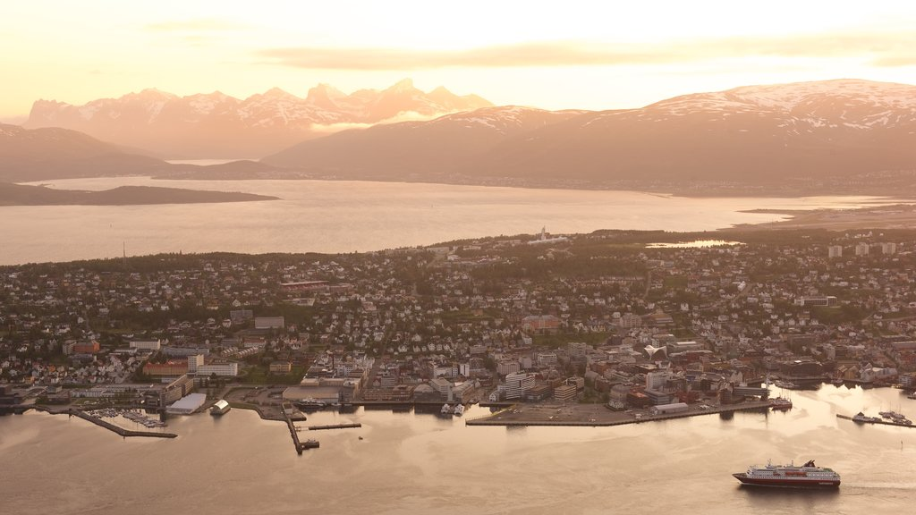 Tromso featuring a small town or village, boating and a lake or waterhole