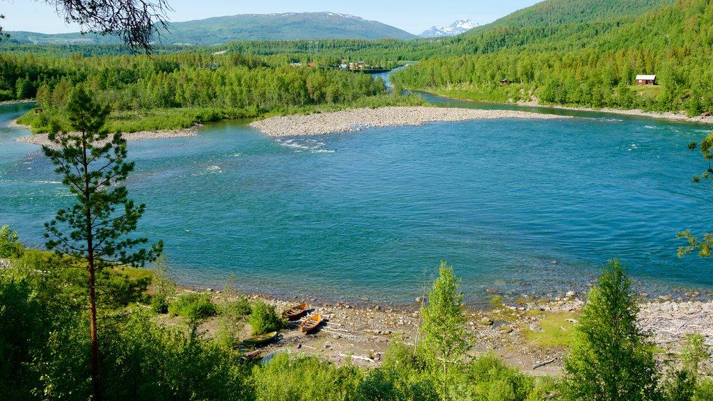Cascada de Maalselvfossen que incluye bosques y un lago o abrevadero