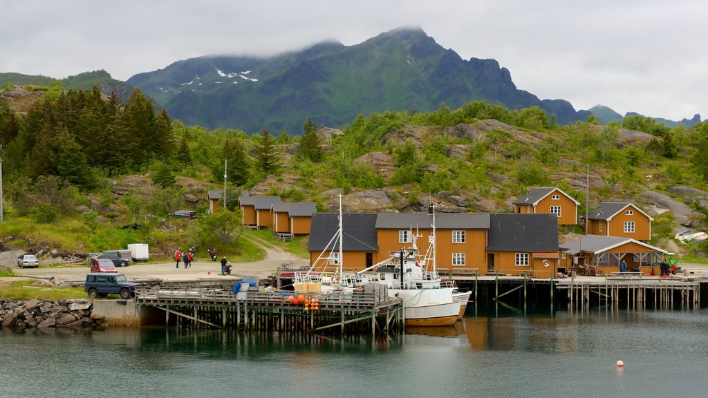 Stamsund which includes a small town or village and boating