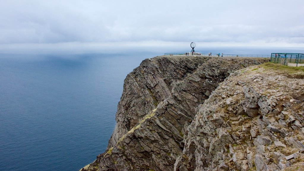 North Cape which includes mist or fog and views