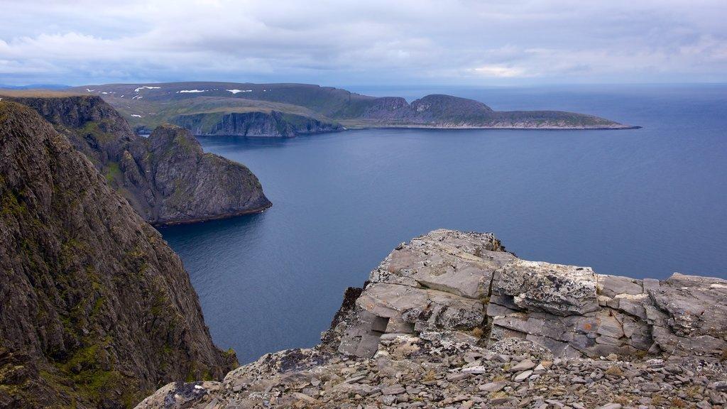Península Knivskjellodden mostrando montañas, vistas de paisajes y vistas generales de la costa