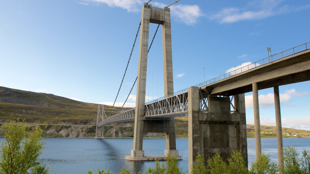 Kvalsund Bridge showing general coastal views and a suspension bridge or treetop walkway