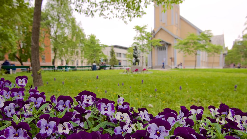 Tromso Cathedral showing flowers