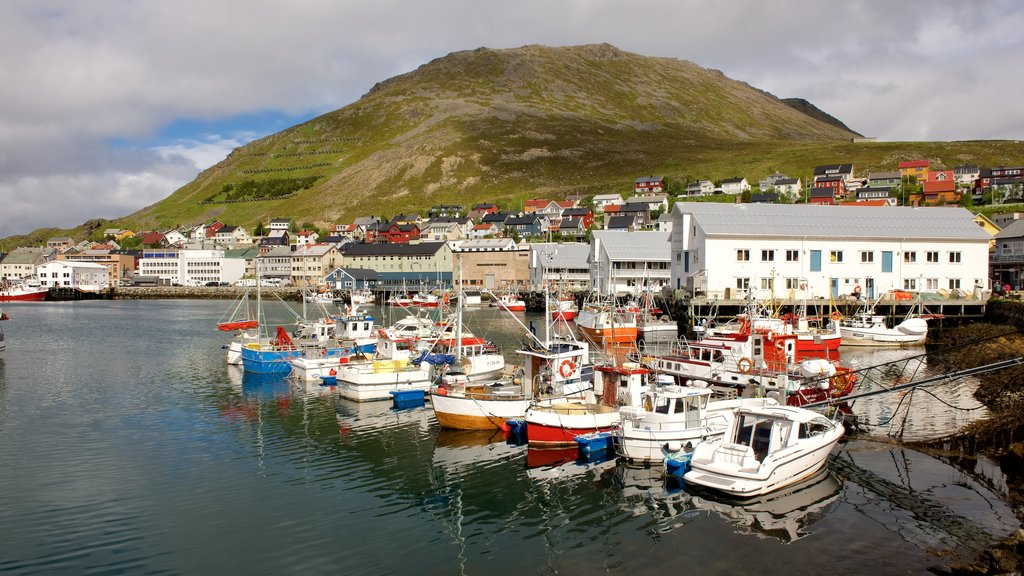 Honningsvag Port showing a marina