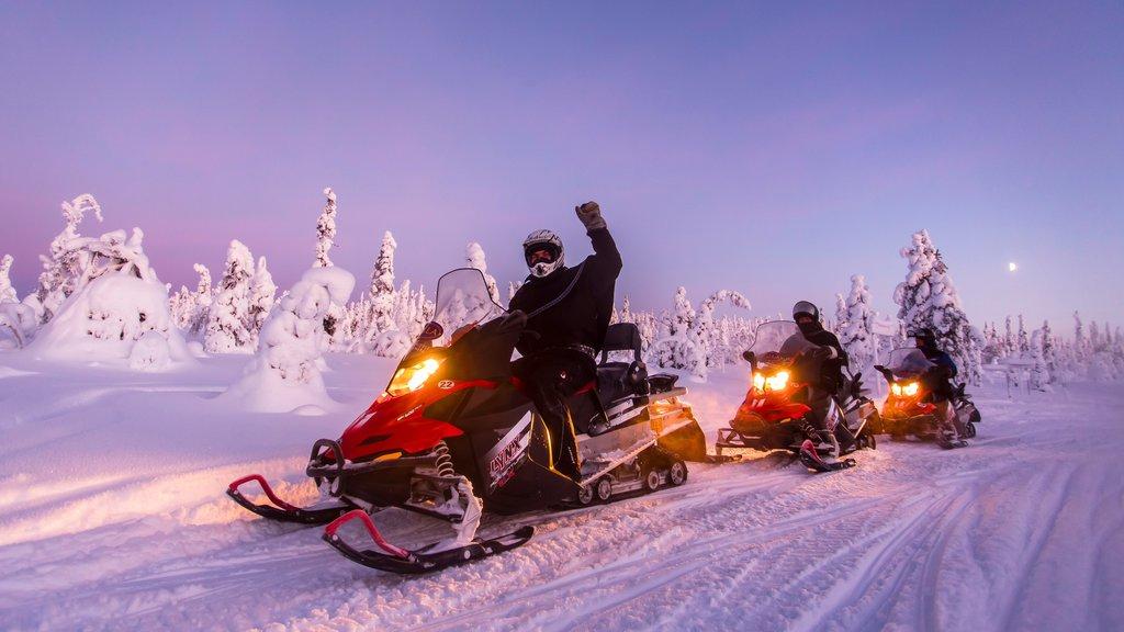 サーラ フィーチャー スノー モービル, 夕焼け と 雪