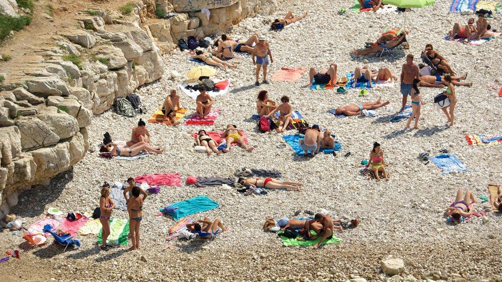 Polignano a Mare ofreciendo una playa de guijarros y también un gran grupo de personas
