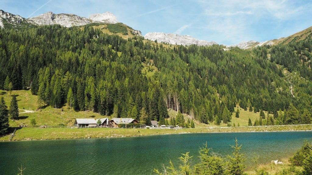 Blick auf das Naturparkhaus Riedingtal am See