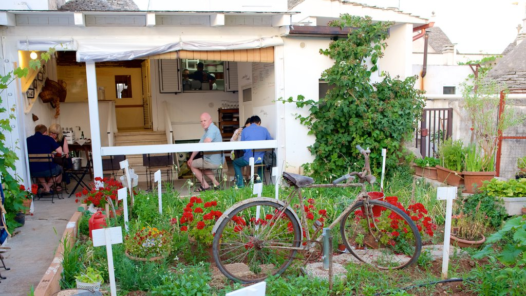 Alberobello showing outdoor eating and a park
