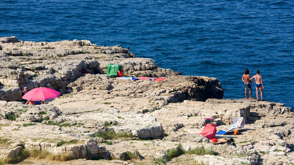 Polignano a Mare which includes rocky coastline
