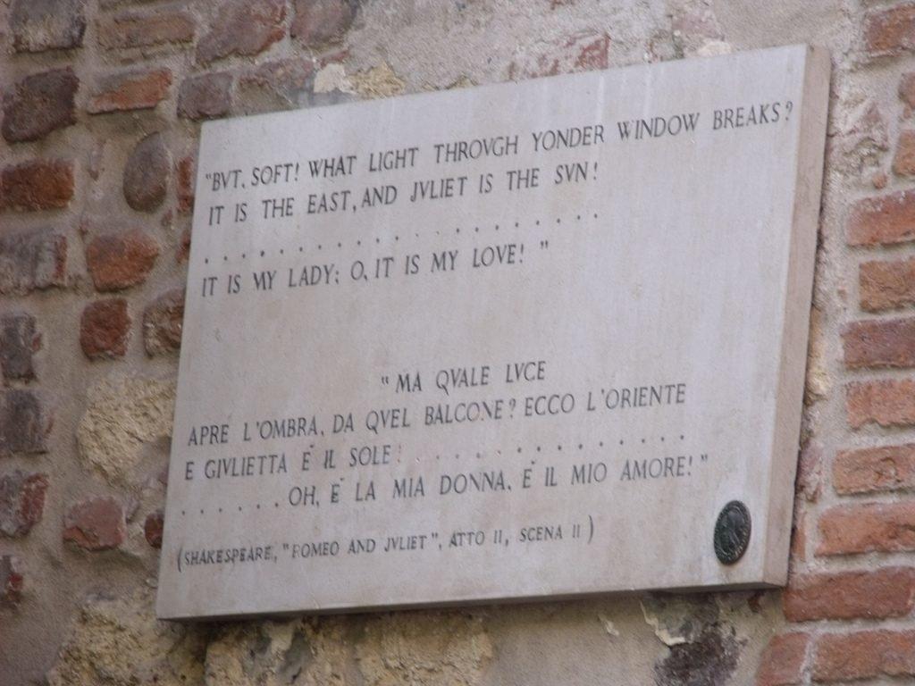Romeo und Julia Schild in Verona