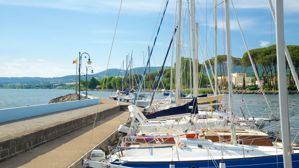 Lake Bolsena showing a bay or harbor