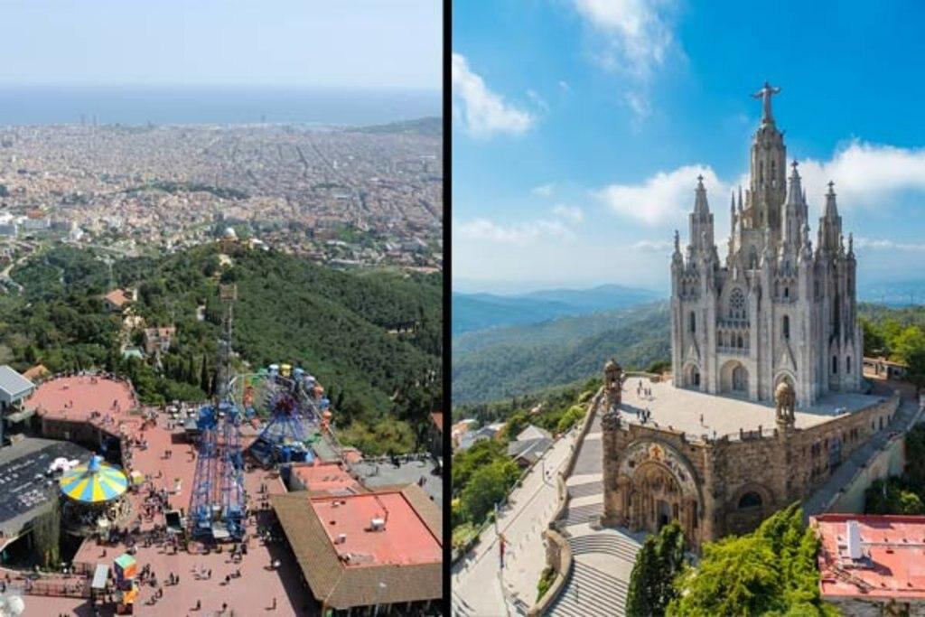 Spektakuläre Aussichten vom Freizeitpark auf dem Tibidabo auf die katalanische Metropole.
