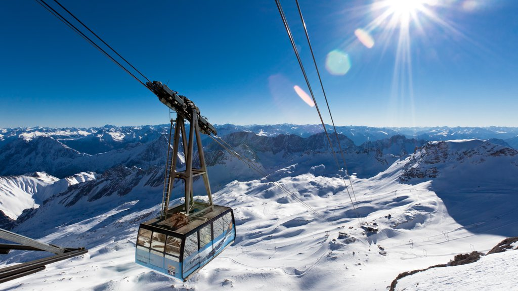 Zugspitze which includes snow, a gondola and mountains