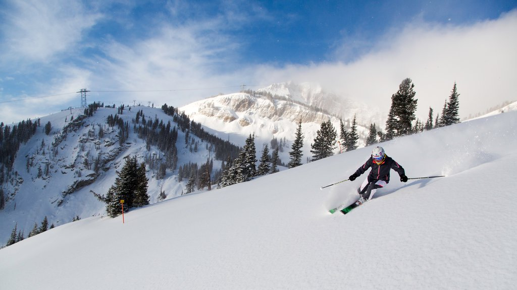 Jackson Hole Mountain Resort ofreciendo montañas, nieve y esquiar en la nieve