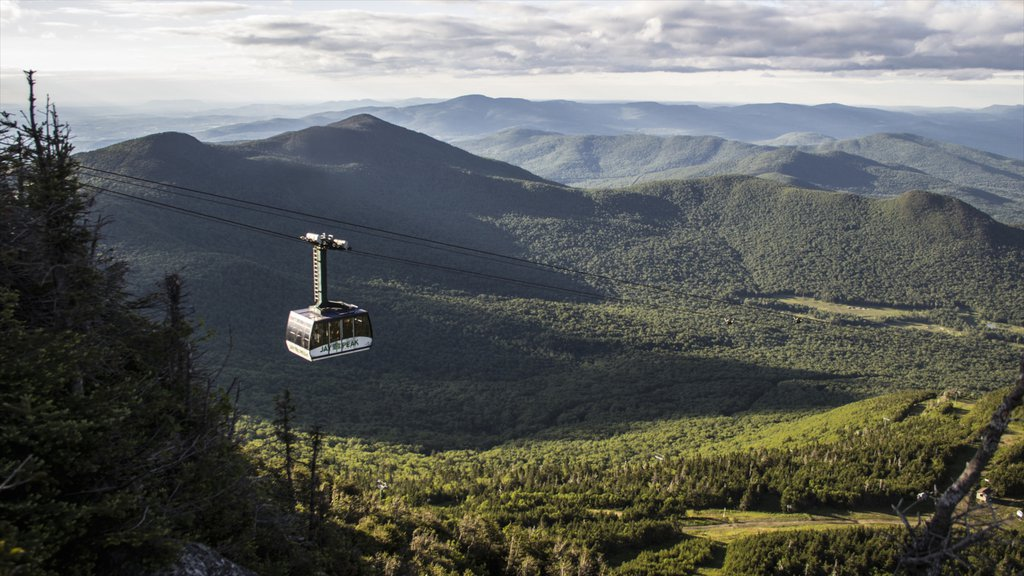 Jay Peak Ski Resort which includes landscape views, forests and a gondola