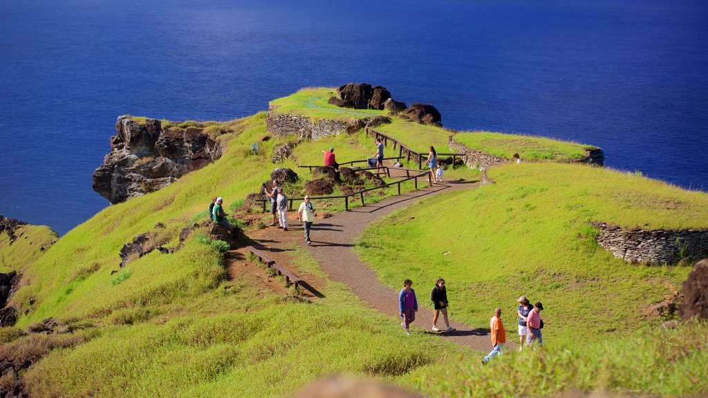 Easter Island showing general coastal views as well as a large group of people