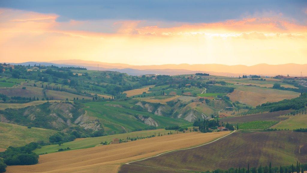 Monticchiello which includes landscape views, a sunset and farmland