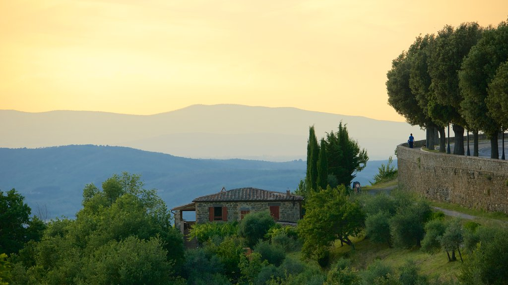 Montalcino which includes landscape views and a sunset