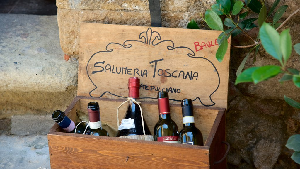 Montepulciano showing drinks or beverages and signage