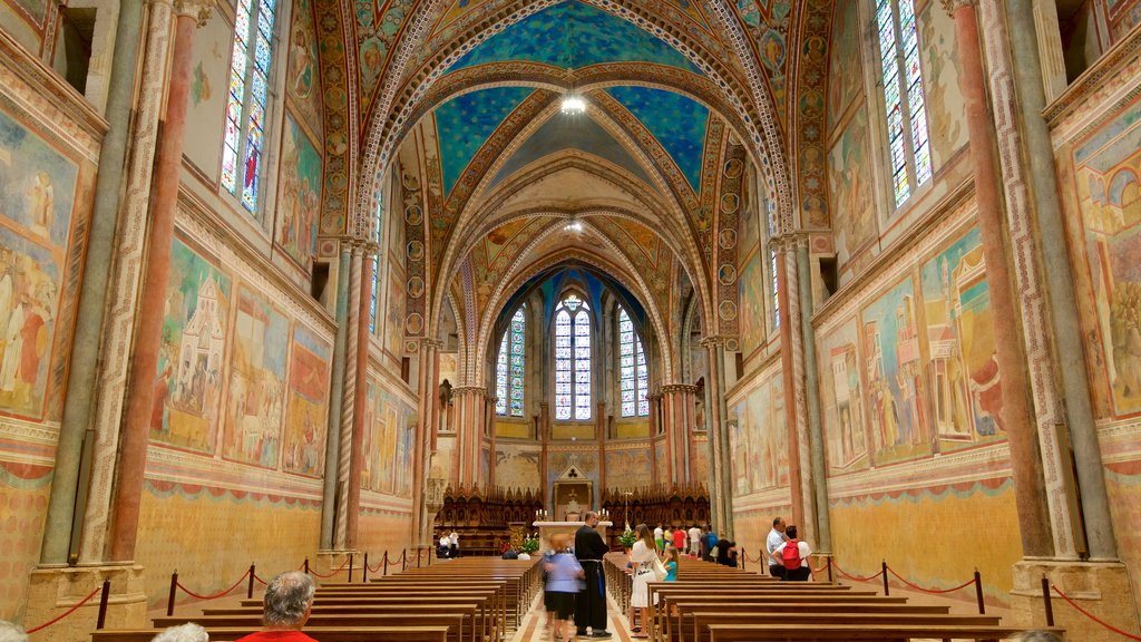Papal Basilica of St. Francis of Assisi showing interior views, a church or cathedral and heritage architecture