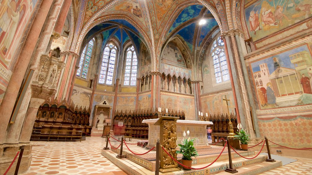 Papal Basilica of St. Francis of Assisi featuring interior views, heritage architecture and religious elements