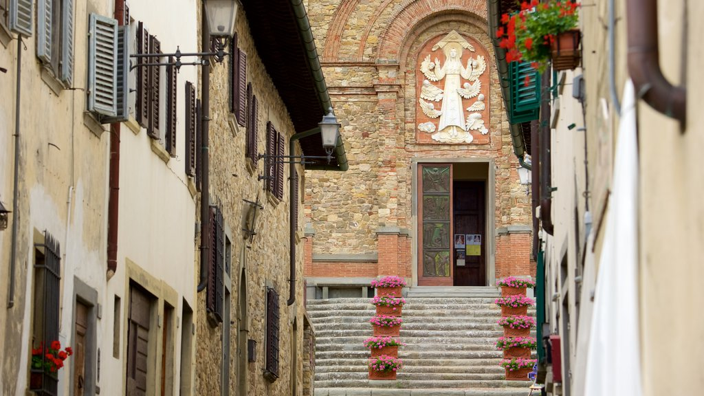 Panzano in Chianti which includes a small town or village, heritage architecture and street scenes