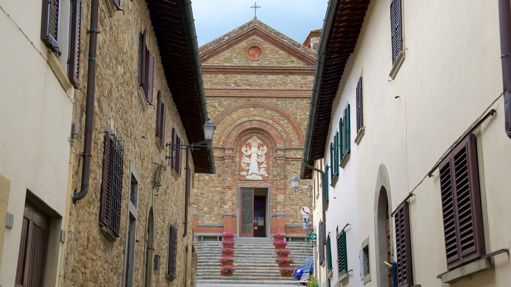 Panzano in Chianti which includes a church or cathedral and heritage architecture
