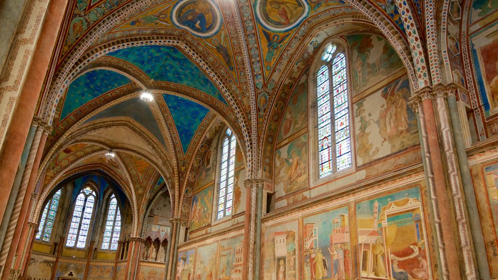 Papal Basilica of St. Francis of Assisi showing interior views and art