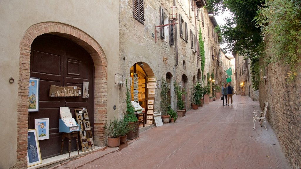 San Gimignano which includes art and street scenes as well as a couple