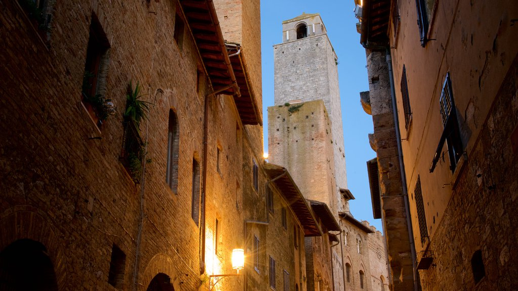 San Gimignano featuring heritage architecture and night scenes