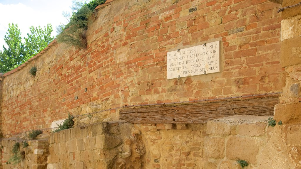 Pienza featuring heritage architecture and signage