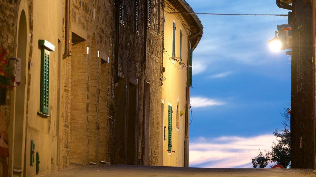 Montalcino featuring a sunset and heritage architecture