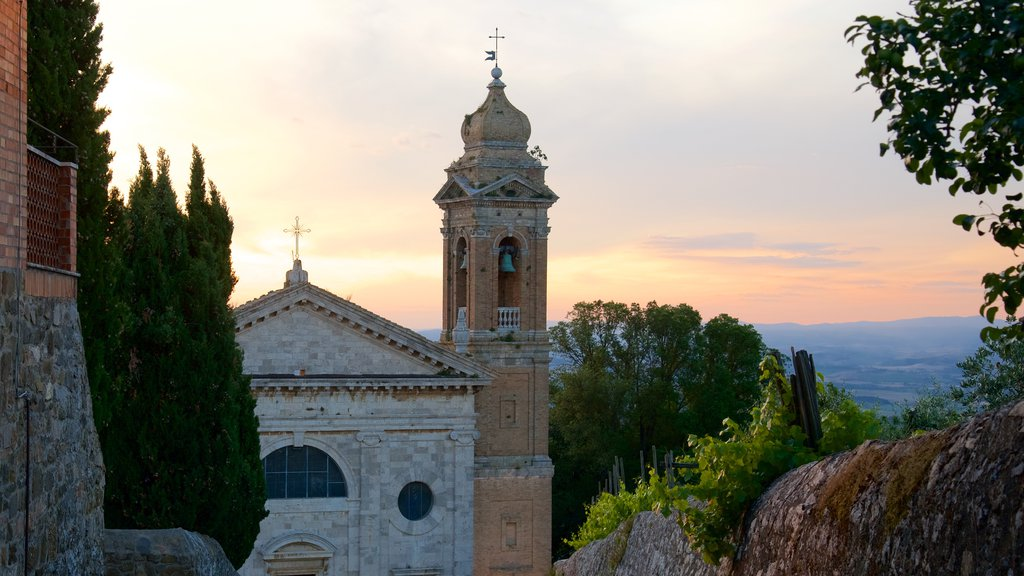 Montalcino featuring a church or cathedral, a sunset and heritage architecture