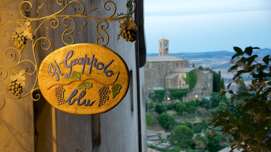 Montalcino which includes signage