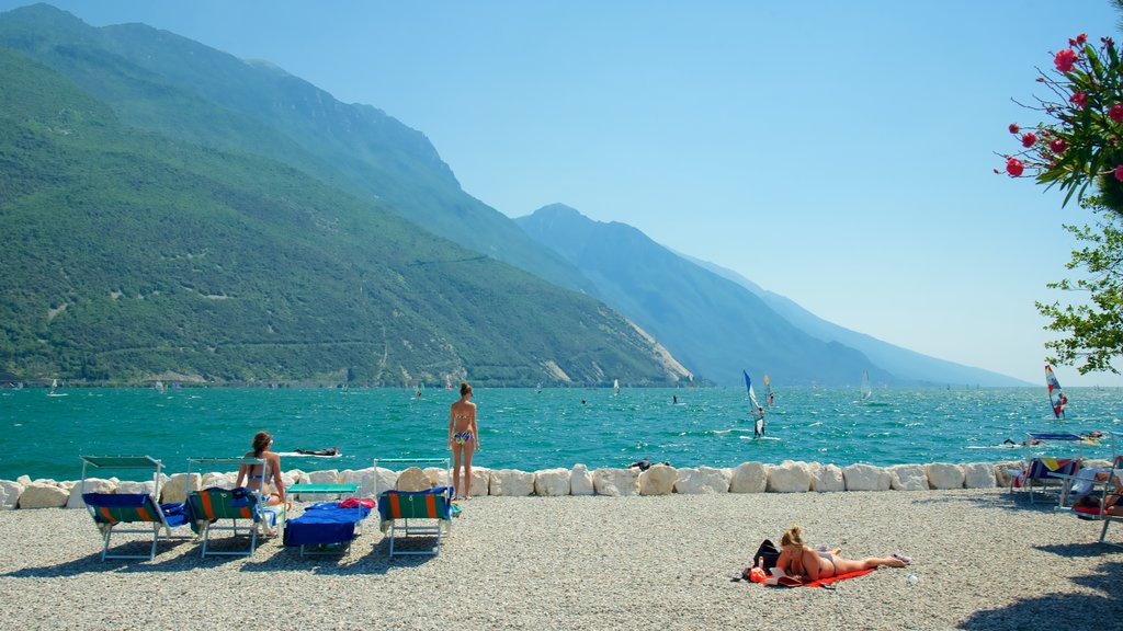 Nago-Torbole featuring mountains, general coastal views and windsurfing