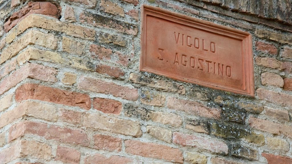 San Gimignano featuring signage