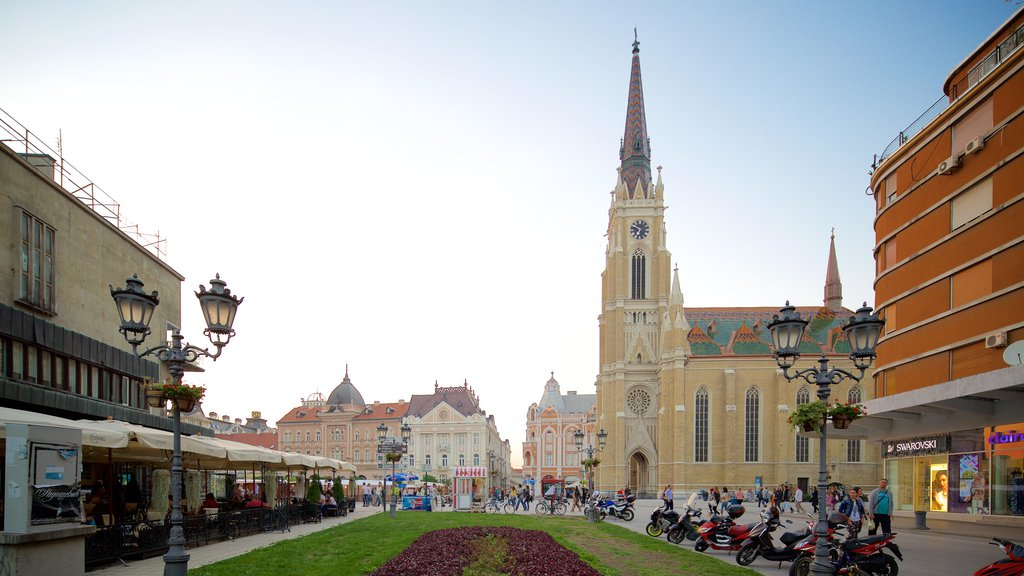 Church of the Virgin Mary which includes street scenes, a square or plaza and a church or cathedral