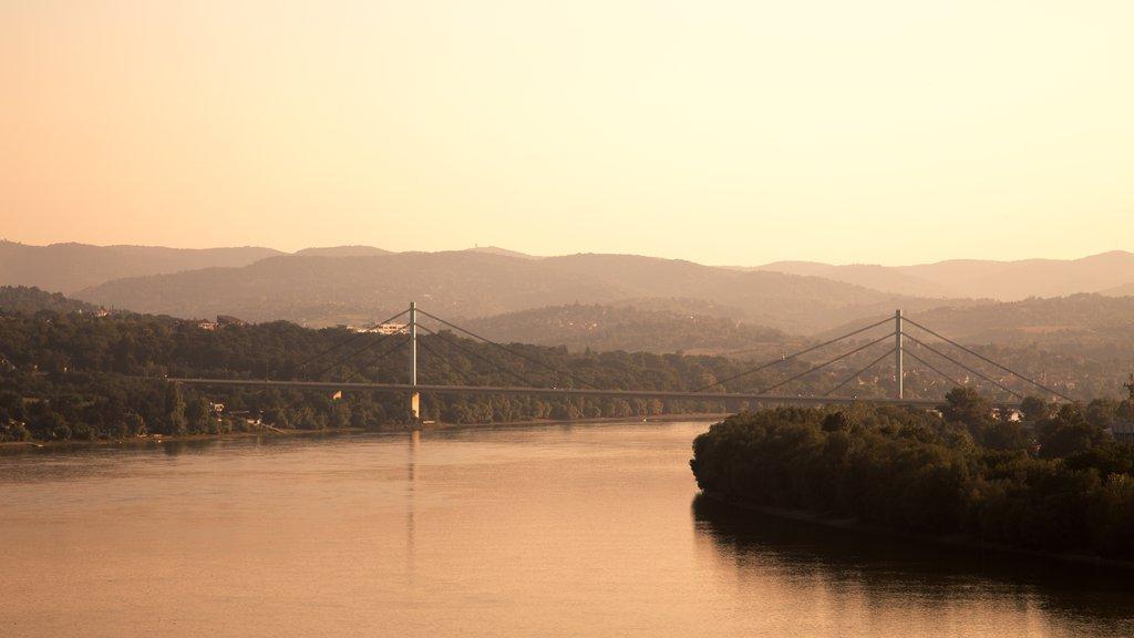 Novi Sad featuring mist or fog, landscape views and a sunset