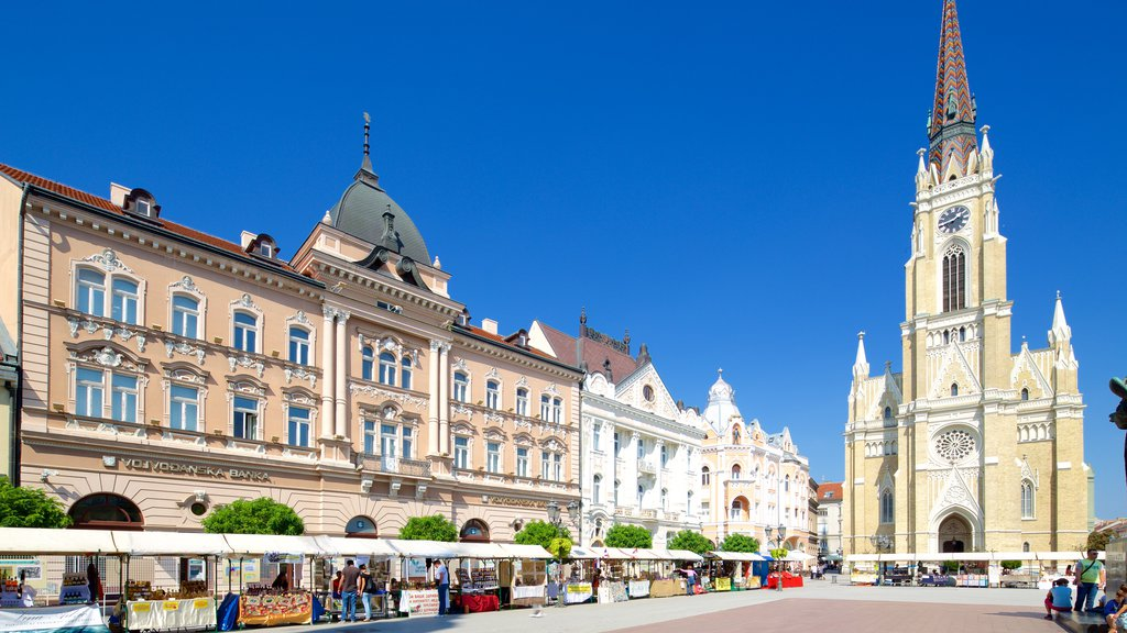 Novi Sad showing markets, a church or cathedral and street scenes