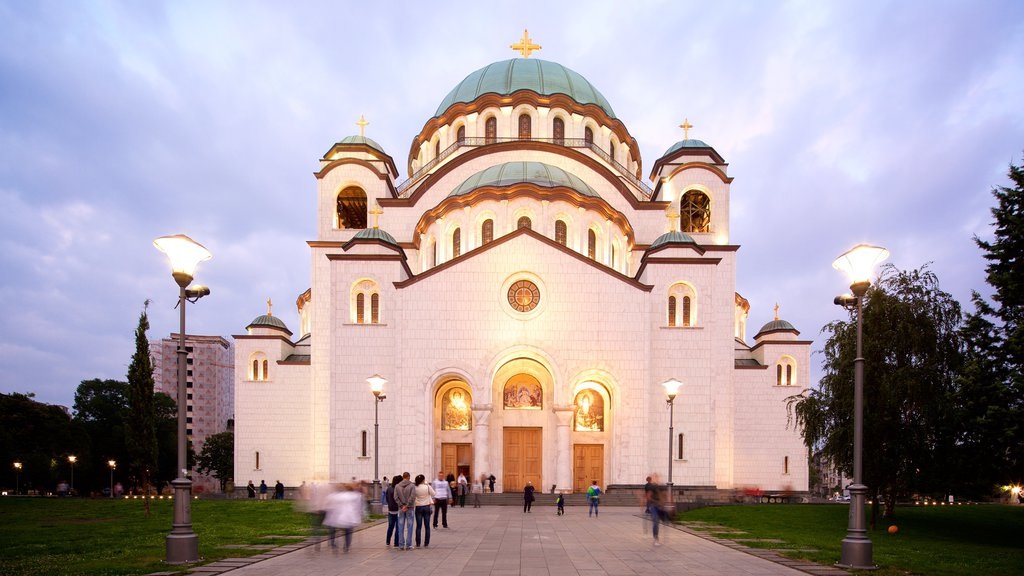 Cathedral of Saint Sava which includes a church or cathedral, night scenes and heritage architecture