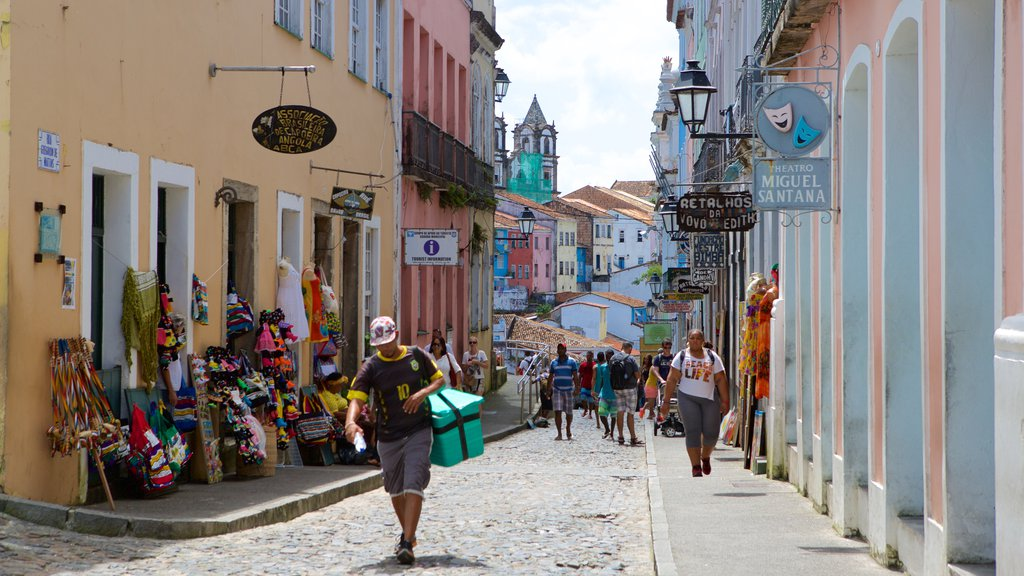 Pelourinho featuring a coastal town, cafe scenes and street scenes