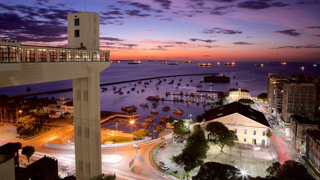 Salvador featuring street scenes, a marina and night scenes