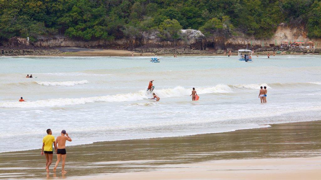 Praia de Ponta Negra mostrando paisagens litorâneas, natação e uma praia